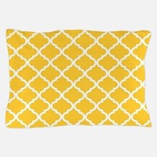 Yellow White Quatrefoil Pattern Pillow Case