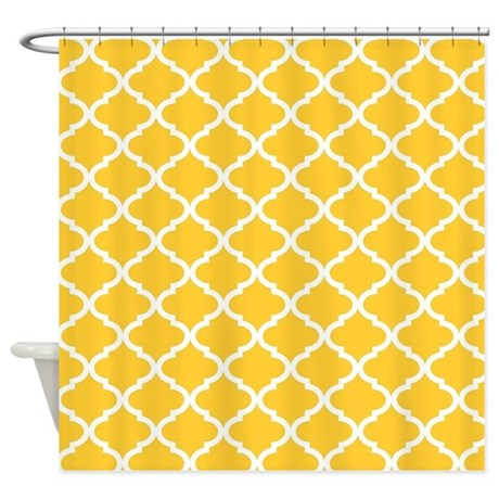 Yellow White Quatrefoil Pattern Shower Curtain By