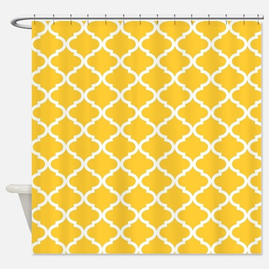 Yellow White Quatrefoil Pattern Shower Curtain