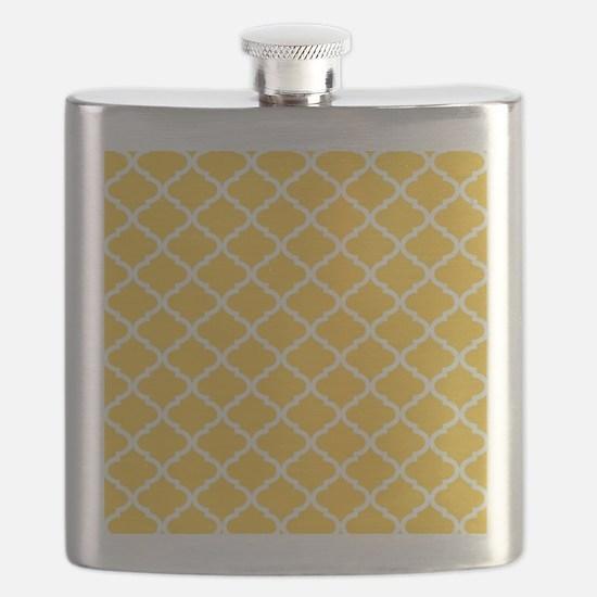 Yellow White Quatrefoil Pattern Flask