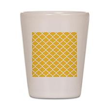 Yellow White Quatrefoil Pattern Shot Glass