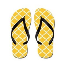 Yellow White Quatrefoil Pattern Flip Flops