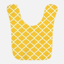 Yellow White Quatrefoil Pattern Bib