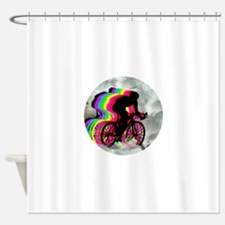 Cycling in the Clouds Shower Curtain
