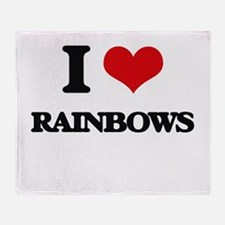 I Love Rainbows Throw Blanket