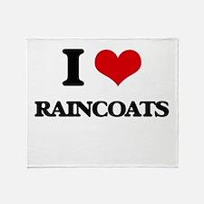 I Love Raincoats Throw Blanket