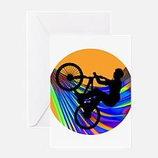 BMX on Rainbow Road Greeting Cards