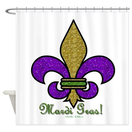 Mardi gras fleur de lis shower curtain by leehillerdesigns - Fleur de lis shower curtains ...