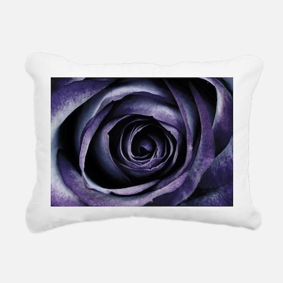 Blue Purple Rose Flower Rectangular Canvas Pillow
