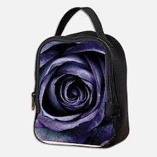 Blue Purple Rose Flower Neoprene Lunch Bag