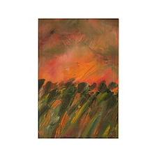 Orange Sunset Field Rectangle Magnet