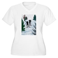Two Cross Country Skiers in Snow Plus Size T-Shirt