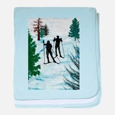Two Cross Country Skiers in Snow Squa baby blanket