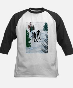 Two Cross Country Skiers in Snow S Baseball Jersey
