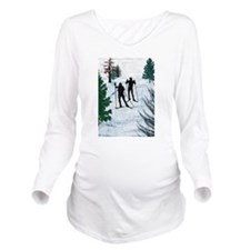 Two Cross Country Sk Long Sleeve Maternity T-Shirt