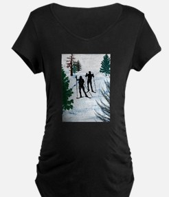 Two Cross Country Skiers in Snow Maternity T-Shirt