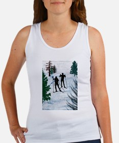 Two Cross Country Skiers in Snow Squall Tank Top