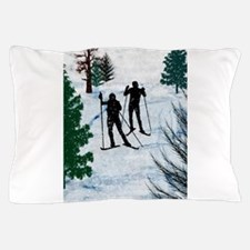 Two Cross Country Skiers in Snow Squal Pillow Case