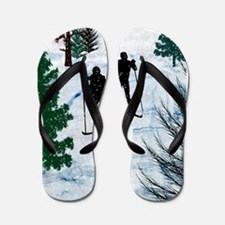 Two Cross Country Skiers in Snow Squall Flip Flops