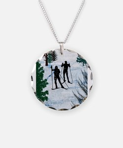 Two Cross Country Skiers in Necklace
