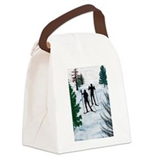 Two Cross Country Skiers in Snow Canvas Lunch Bag
