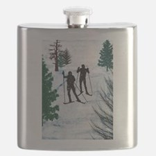 Two Cross Country Skiers in Snow Squall.png Flask