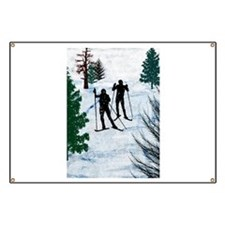 Two Cross Country Skiers in Snow Squall.png Banner