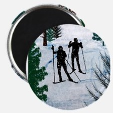 Two Cross Country Skiers in Snow Squall Magnets