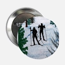 "Two Cross Country Skiers in Snow Squa 2.25"" Button"
