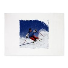 Skiing Down the Mountain Revised wi 5'x7'Area Rug