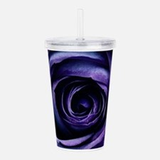 Purple Blue Rose Bloom Acrylic Double-wall Tumbler