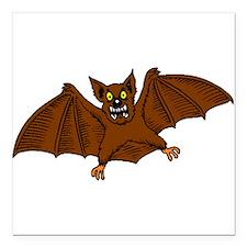 """Brown Bat Square Car Magnet 3"""" x 3"""""""