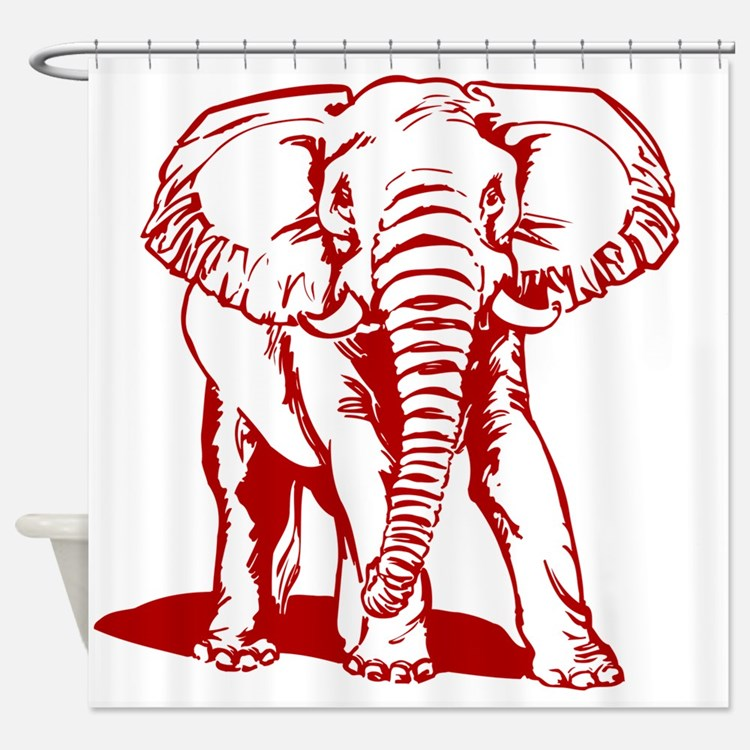 Cute Red elephants Shower Curtain