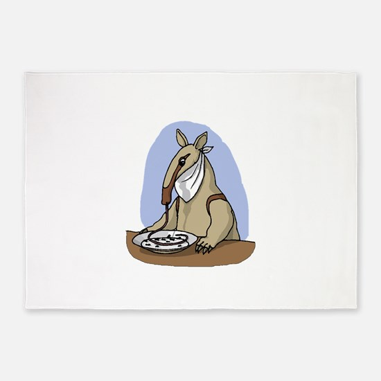 Anteater Eating At Table 5'x7'Area Rug