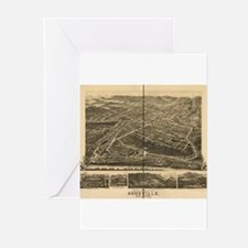 Asheville, NC, 1891 antique m Greeting Cards (Pack