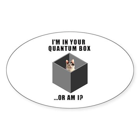 Quantum Cat Oval Sticker