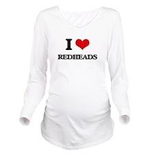 I Love Redheads Long Sleeve Maternity T-Shirt