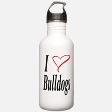 I Love Bulldogs Water Bottle