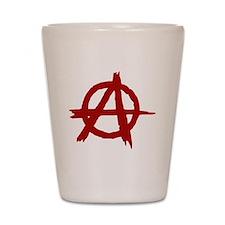 anarchy symbol (red) Shot Glass