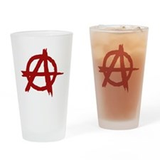 anarchy symbol (red) Drinking Glass