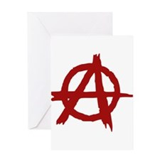 anarchy symbol (red) Greeting Cards