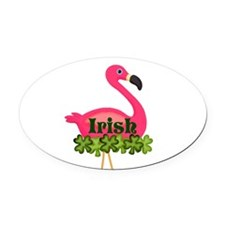 Irish Flamingo Oval Car Magnet
