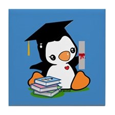 Graduation Penguin (2) Tile Coaster