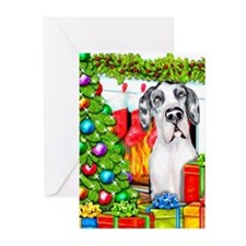 Great Dane Stockings Har Greeting Cards (Pk of 10)