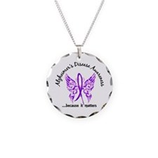 Alzheimer's Disease Butterfl Necklace Circle Charm