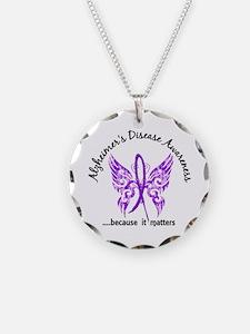 Alzheimer's Disease Butterfl Necklace Circle Charm