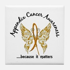 Appendix Cancer Butterfly 6.1 Tile Coaster