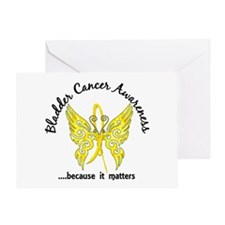 Bladder Cancer Butterfly 6.1 Greeting Card