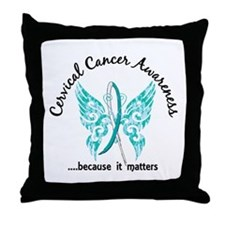 Cervical Cancer Butterfly 6.1 Throw Pillow
