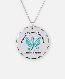 Cervical Cancer Butterfly 6. Necklace Circle Charm